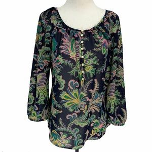 CHAPS Boho Blouse with 3/4 Length Sleeves Sz S